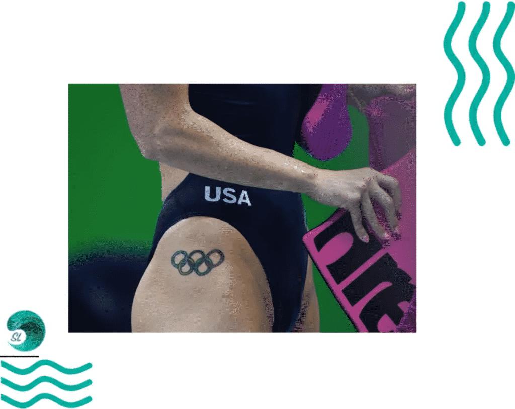 Татуировки у пловцов. Олимпийские кольца
